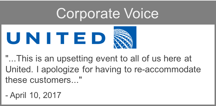 Corporate voice example from United