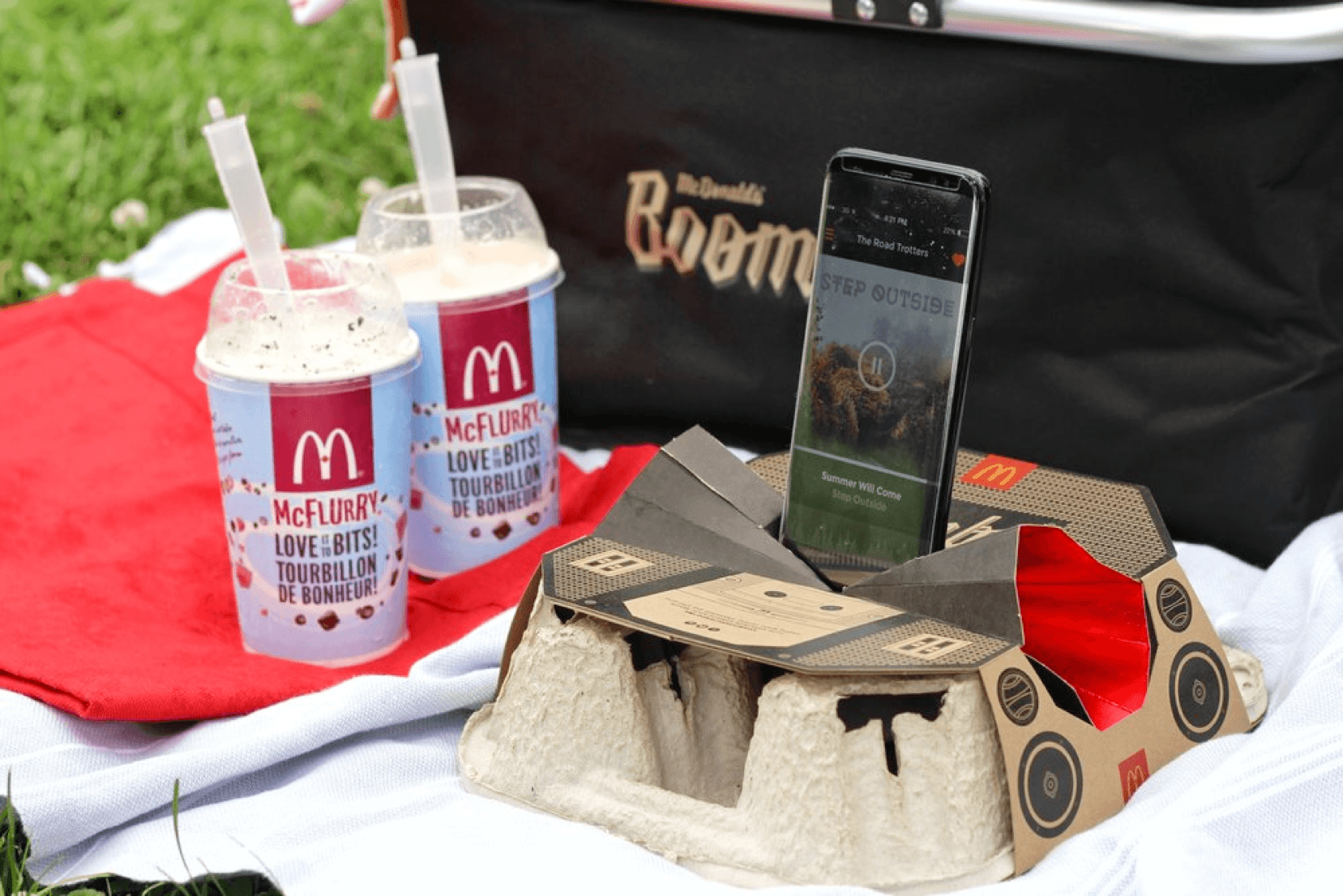 McDonald's Canada collaborated with the University of Waterloo to create a limited-edition drink tray boombox that worked with customers' smartphones.