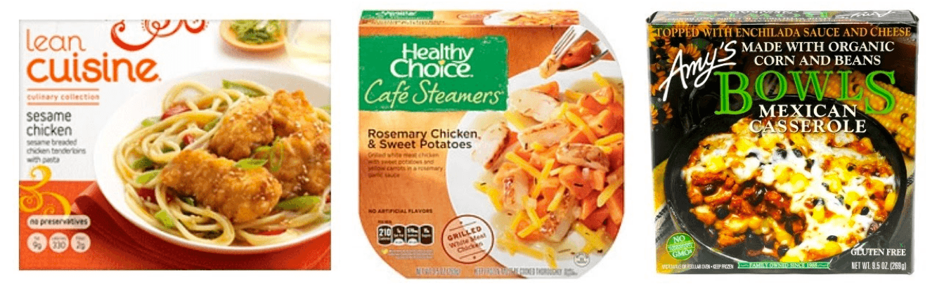 "A sample of several frozen meals, which are no longer considered ""convenient"" by the modern consumer."