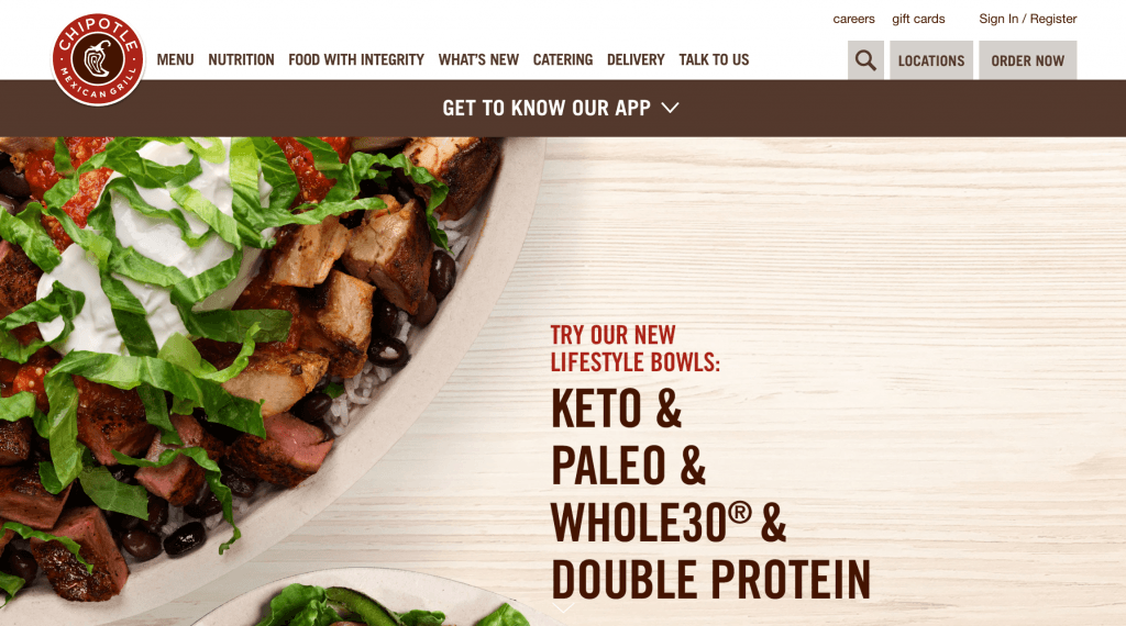Chipotle.com advertising lifestyling bowls for Keto, Paleo, Whole30, and double protein diets.
