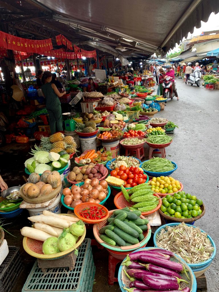 Local produce market in Hoi An, Vietnam.