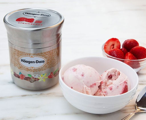 Haagen-Dazs ice cream in a metal container