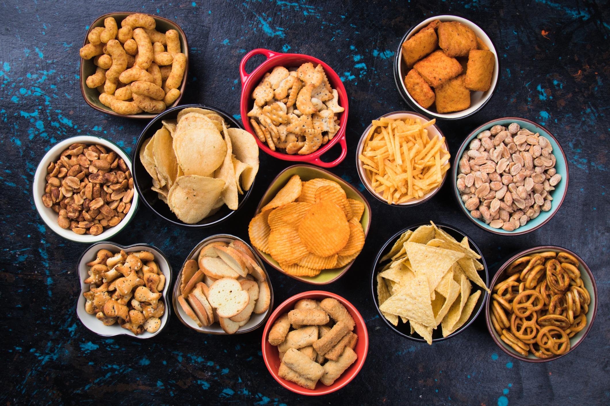various salty snacks