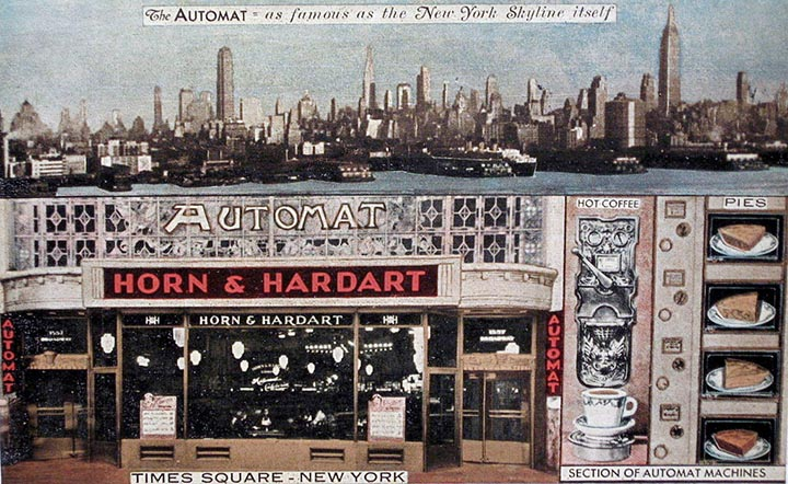 antique postcard of an automat, Horn and Hardart in New York City, NY