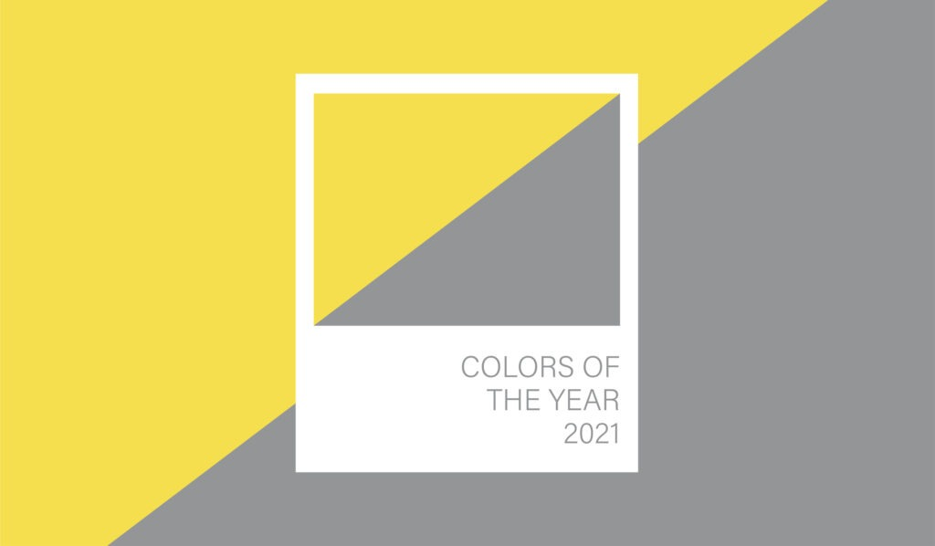 A swatch of Pantone's colors of the year for 2021: ultimate gray and illuminating yellow.