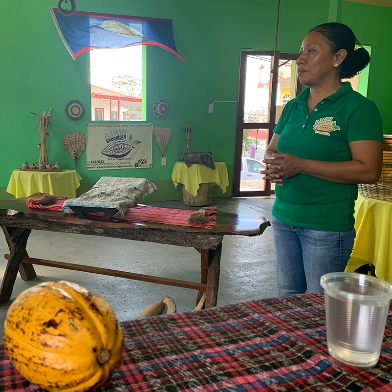 an Ajaw Chocolate representative ready to give a demo of their process