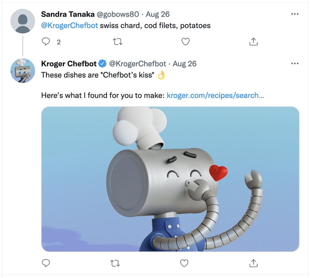 Sample tweet from Kroger's Chefbot